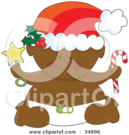 Clipart Illustration of a Black Christmas Baby In A Diaper, Holding A Star Rattle And Candycane, Wearing A Santa Hat by Maria Bell