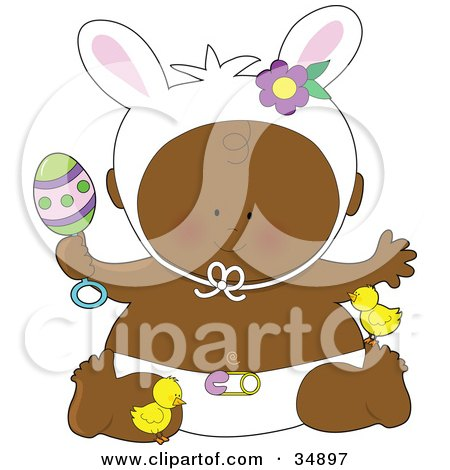 Clipart Illustration of a Black Easter Baby In A Diaper, Holding An Egg Rattle, Wearing Bunny Ears And Playing With Chicks by Maria Bell