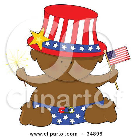 Clipart Illustration of a Black Independence Baby In A Star Diaper, Holding A Sparkler And An American Flag, Wearing A Patriotic Ha by Maria Bell