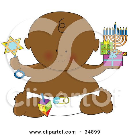 Clipart Illustration of a Black Hanukkah Baby In A Diaper, Holding Gifts, A Menorah And A Rattle by Maria Bell