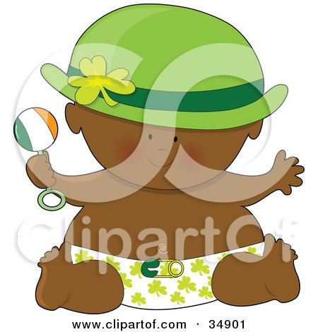 Clipart Illustration of a Black St Patrick's Day Baby In A Clover Diaper, Holding A Rattle, Wearing A Green Hat by Maria Bell