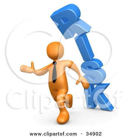 Clipart Illustration of an Orange Business Man Running From The Toppling Blue Word RISK by 3poD