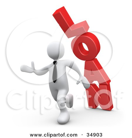 Clipart Illustration of a White Business Man Running From The Toppling Red Word LOAN by 3poD