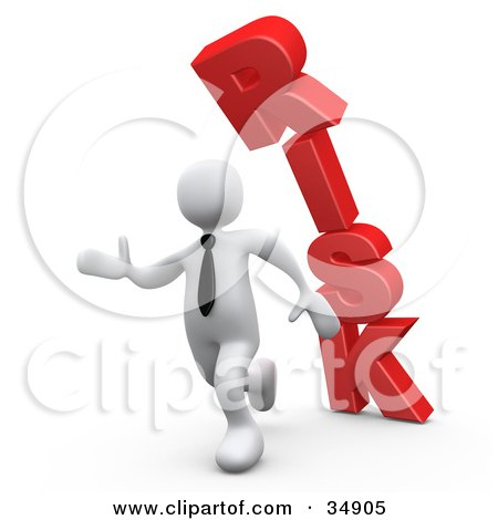 Clipart Illustration of a White Business Man Running From The Toppling Red Word RISK by 3poD