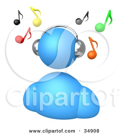 Clipart Illustration of a Blue Avatar Wearing Chrome Headphones And Listening To Music, With Colorful Notes Floating Above by 3poD
