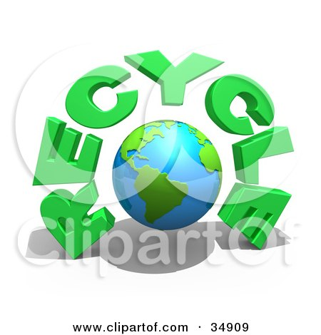 Clipart Illustration of a Bright Globe Under Green RECYCLE Text by 3poD