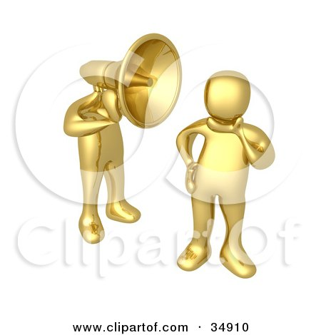 Clipart Illustration of a Golden Man With A Headphone Head Shouting In A Person's Ear by 3poD