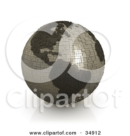 Clipart Illustration of a Gray Globe Made Of Cubes, Featuring The American Continents by 3poD