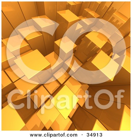 Clipart Illustration of an Aerial View Of Random Golden Cubes Growing by 3poD