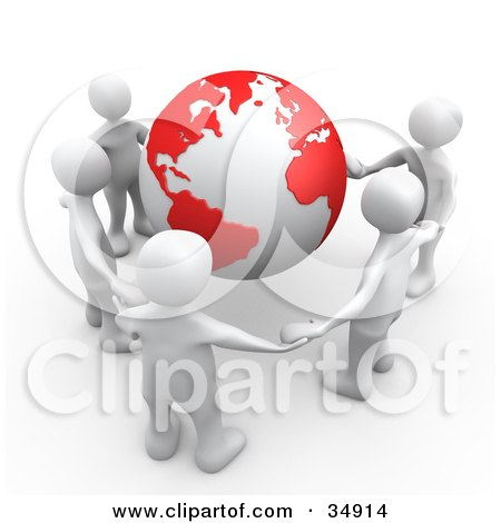 Clipart Illustration of a Group Of Five White People Holding Hands Around A Globe With Red Continents by 3poD