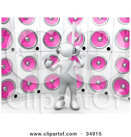 Clipart Illustration of a White Person With A Music Note Head, Giving The Thumbs Up, Listening To Tunes In Front Of A Wall Of Pink Speakers by 3poD
