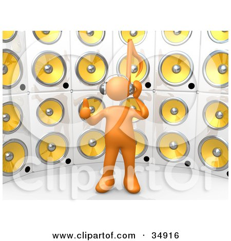 Clipart Illustration of an Orange Person With A Music Note Head, Giving The Thumbs Up, Listening To Tunes In Front Of A Wall Of Yellow Speakers by 3poD
