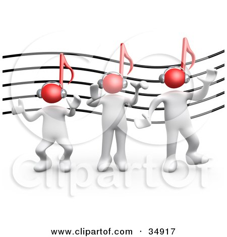 Clipart Illustration of Three White People With Red Music Note Heads And Headphones, Listening To Music And Dancing In Front Of A Music Staff by 3poD