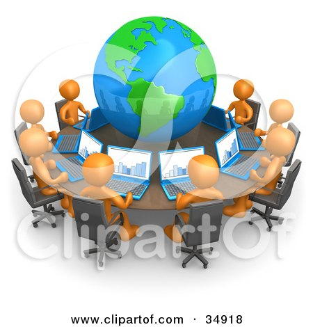 Clipart Illustration of a Group Of Orange People Working On Laptops At A Round Table With A Globe In The Center by 3poD