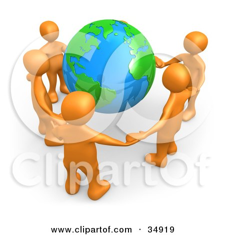 Clipart Illustration of a Group Of Five Orange People Holding Hands Around A Shiny Globe by 3poD