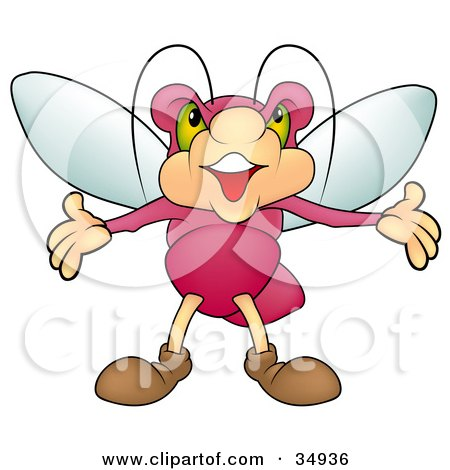 Clipart Illustration of a Dramatic Pink Beetle With Green Eyes, Holding His Arms Out by dero