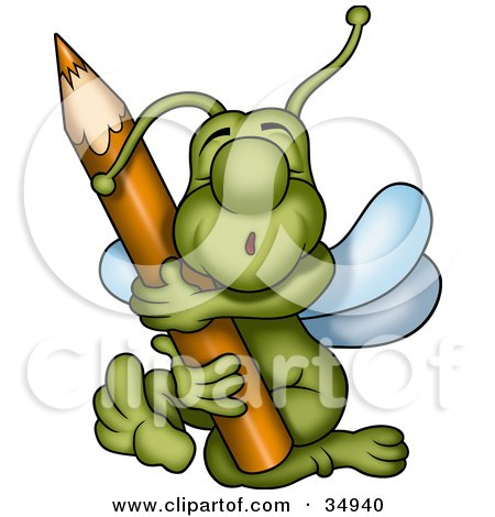 Clipart Illustration of a Sweet Green Beetle Hugging A Brown Colored Pencil by dero