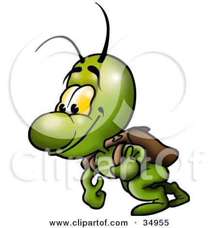 Happy Green Bug Carrying A Leather Backpack Posters, Art Prints