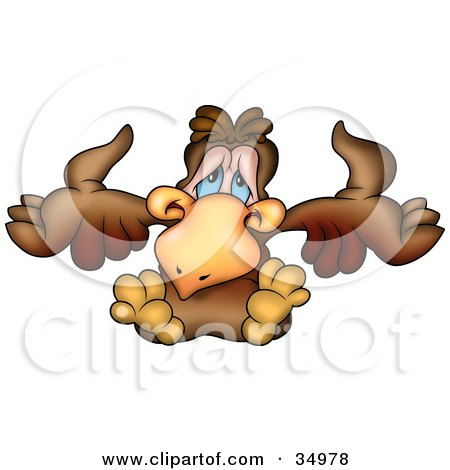 Clipart Illustration of a Shrugging Brown Bird by dero
