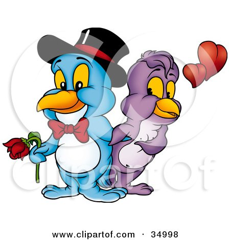 Clipart Illustration of a Romantic Blue Male Bird In A Bow Tie And Hat, Holding A Rose For His Beautiful Purple Female by dero