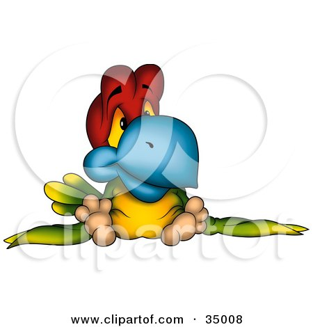 Clipart Illustration of a Sad Red, Green And Yellow Parrot With A Blue Beak by dero