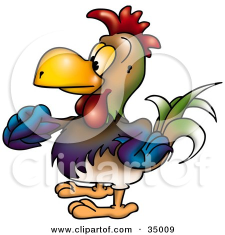 Clipart Illustration of a Colorful Male Rooster In Profile, Facing Left And Strutting His Stuff by dero