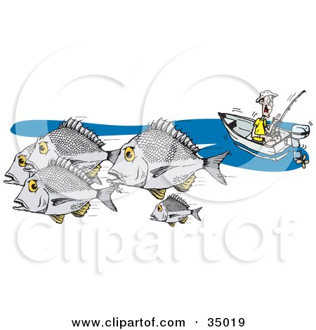 Clipart Illustration of a Caucasian Fisherman In A Boat, Fishing For Bream by Dennis Holmes Designs