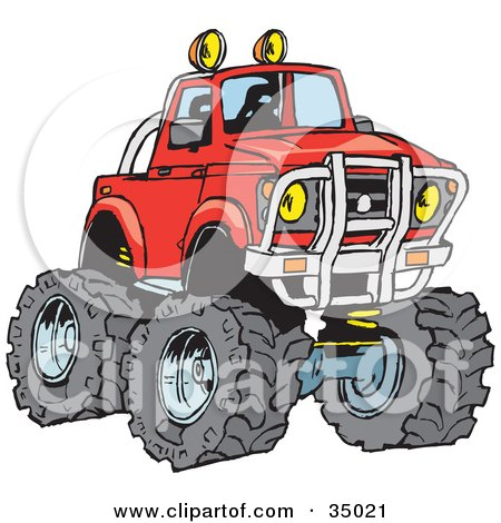 Clipart Illustration of a Big Red Pickup Truck With A Lift And Huge Tires, Ready For Off Roading by Dennis Holmes Designs