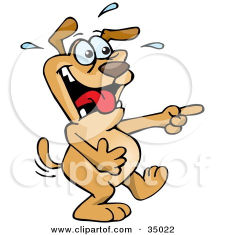Clipart Illustration of a Dog Cracking Up And Pointing At Someone Else's Expense by Dennis Holmes Designs