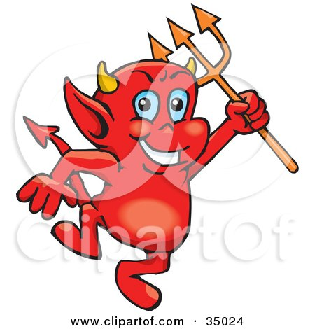 Red Devil Face Smoking A Cigarette Tattoo Design Posters,