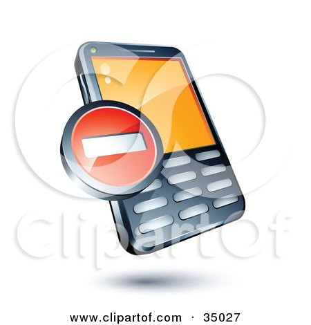 Clipart Illustration of a Red Minus Sign On A Cellphone by beboy