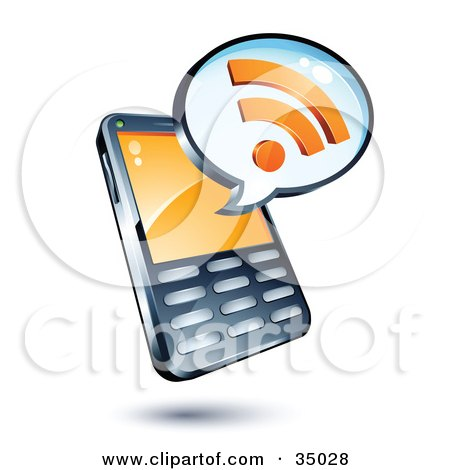 Clipart Illustration of an RSS Symbol On An Instant Messenger Window Over A Cell Phone by beboy