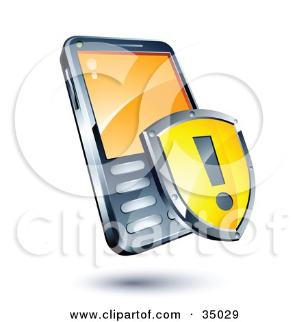 Clipart Illustration of a Yellow Exclamation Point Shield On A Cellphone by beboy