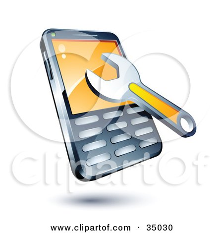 Clipart Illustration of a Wrench On A Cellphone by beboy