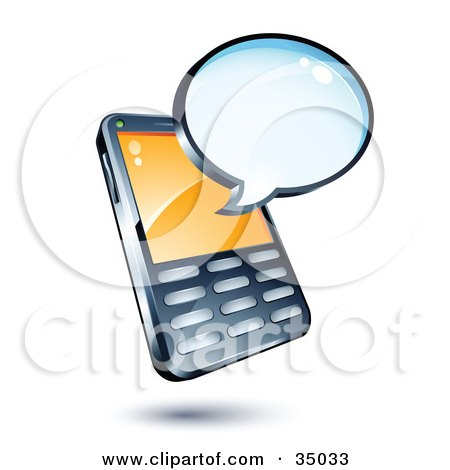 Clipart Illustration of a Blank Chat Window Over A Cell Phone by beboy