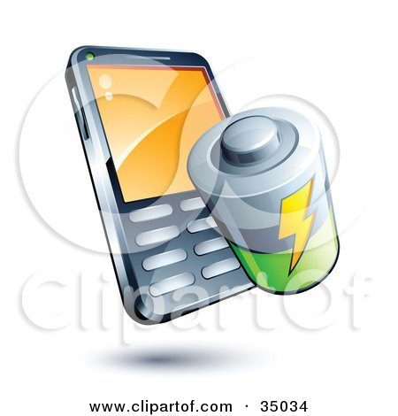 Clipart Illustration of a Battery On A Cellphone by beboy