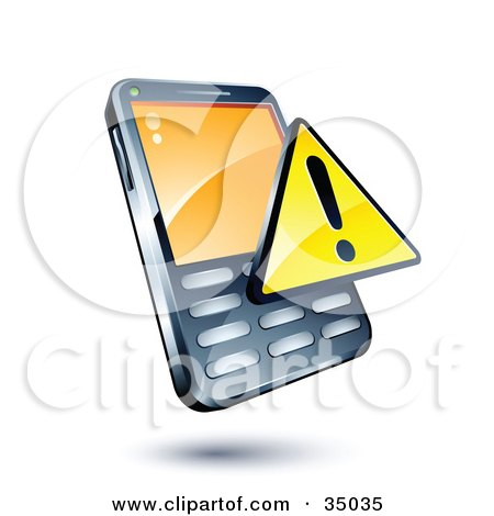 Clipart Illustration of a Yellow Warning Sign On A Cellphone by beboy