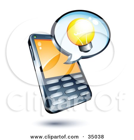 Clipart Illustration of a Lightbulb On An Instant Messenger Window Over A Cell Phone by beboy