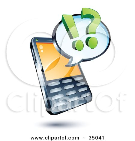 Clipart Illustration of a Question Mark And Exclamation Point On A Chat Window Over A Cell Phone by beboy