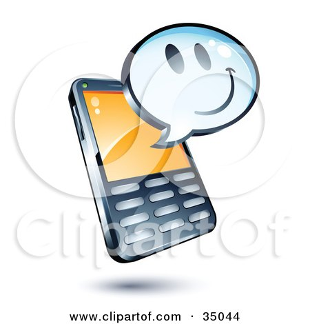 Clipart Illustration of a Smiley Face On An Instant Messenger Window Over A Cell Phone by beboy