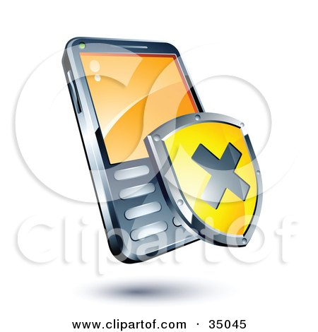 Clipart Illustration of a Yellow X Shield On A Cellphone by beboy