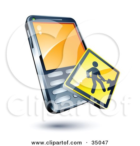 Clipart Illustration of a Digging Construction Sign On A Cellphone by beboy