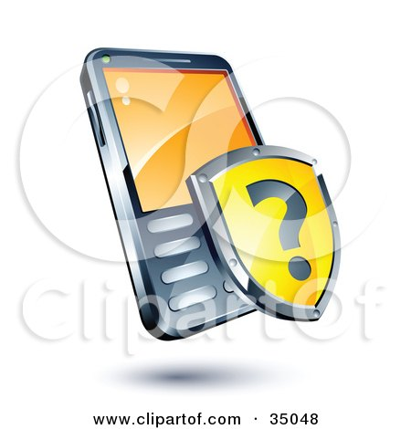 Clipart Illustration of a Yellow Question Mark Shield On A Cellphone by beboy