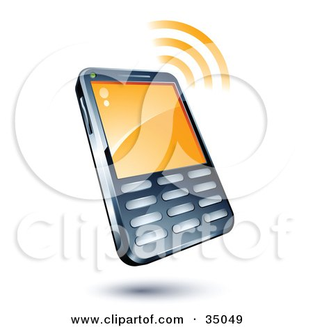 Clipart Illustration of a Cell Phone With Signal Waves by beboy