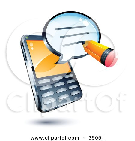 Clipart Illustration of a Pencil Writing On An Instant Messenger Window Over A Cell Phone by beboy