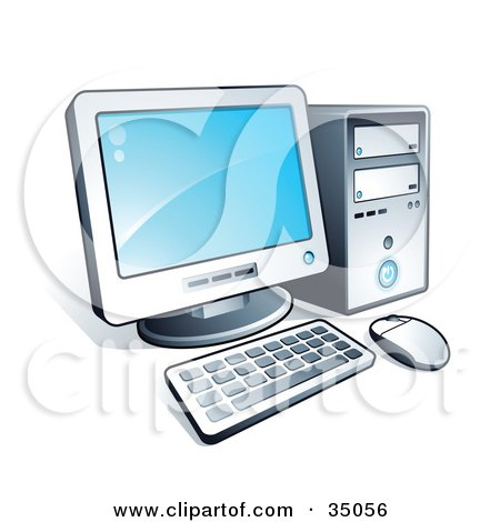 Clipart Illustration of a New Desktop Computer With Blue Desktop Wallpaper by beboy