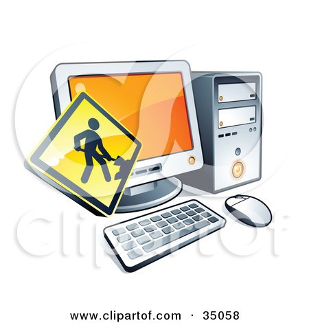 Clipart Illustration of a Yellow Digging Construction Sign Over A Desktop Computer by beboy