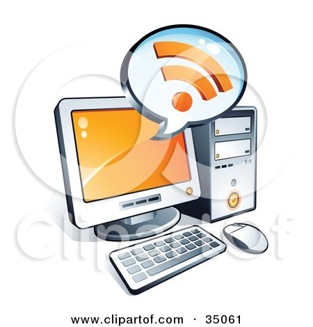 Clipart Illustration of RSS Symbols On An Instant Messenger Window Over A Desktop Computer Screen by beboy