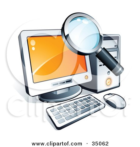 Clipart Illustration of a Magnifying Glass Searching Files On A Desktop Computer by beboy