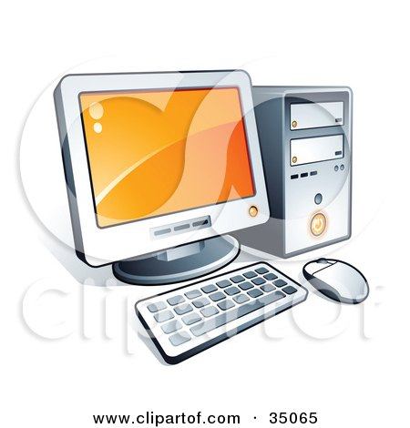 Clipart Illustration of a New Desktop Computer With Orange Desktop Wallpaper by beboy